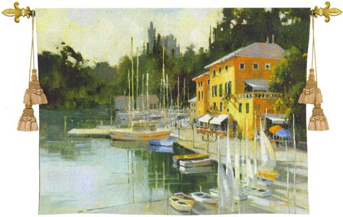 Portofino Heights Tapestry Wall Hanging - Harbourside View, 42in X 53in