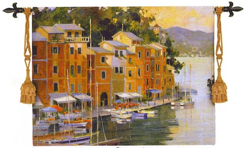 Portofino View Tapestry Wall Hanging - Waterfront View, 42in X 53in