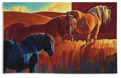 Primary Colors Animal Wall Tapestry - Horse Picture In Bright Colors, 53in X 32in