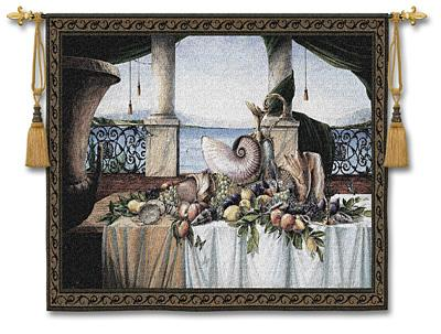 Promessa D'Estate Sea View Wall Tapestry - Still Life With Shells & Fruits, 80in X 53in