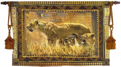 Protecting Her Cubs Tapestry Wall Hanging - Animal Picture, 53in X 38in