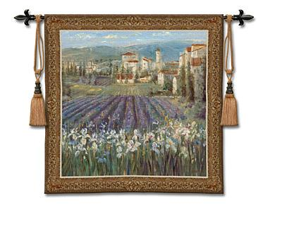 Provencal Village European Landscape Wall Tapestry - Tuscan Countryside, 53in X 53in