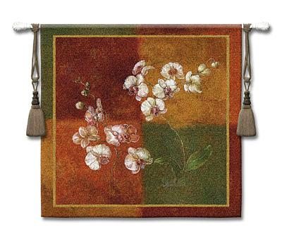 Quatre Saisons II Contemporary Tapestry Wall Hanging - Geometrical Botanical Design, 44in X 44in