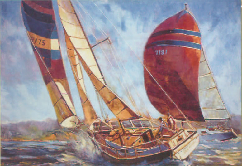 Racing The Wind Nautical Picture Sailboating Tapestry Wall Hanging, 70in X 47in
