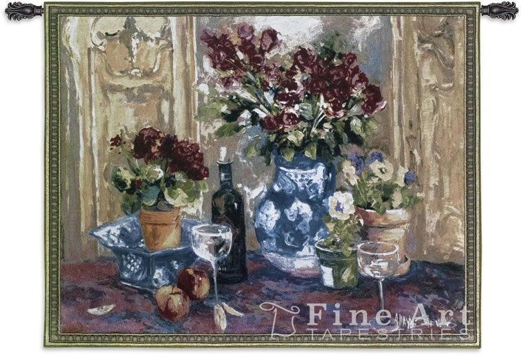 Red Roses With Wine Still Life Wall Tapestry - Flowers, Fruits & Wine, 53in X 40in