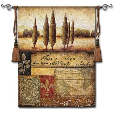 Renaissance Landscape I Landscape Wall Tapestry - Vintage Collage, 44in X 53in