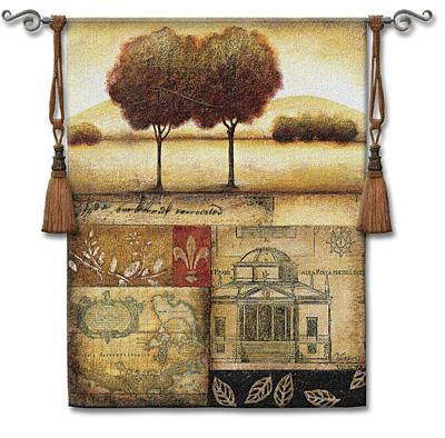 Renaissance Landscape II Landscape Wall Tapestry - Vintage Collage, 44in X 53in