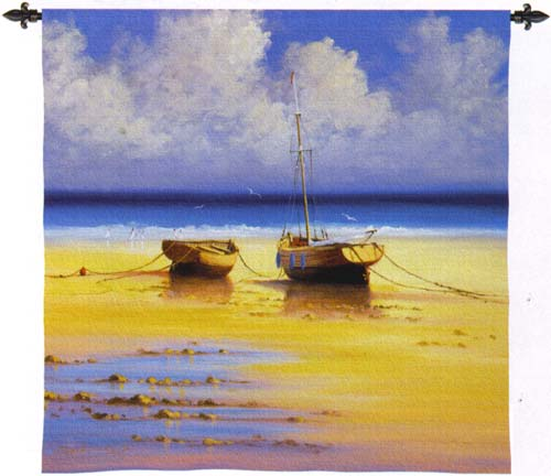 Restful Moorings Nautical Wall Tapestry - Boats Picture, 53in X 53in