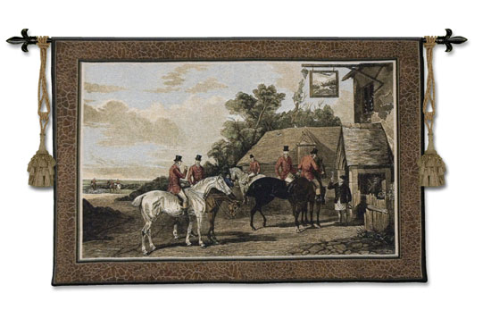 Returning From The Hunt Fine Art Wall Tapestry - Horse Riders, 52in X 35in