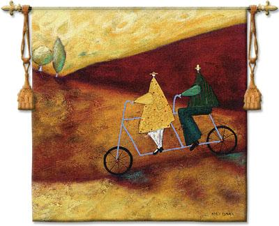 Rolling Home Together Landscape Wall Tapestry - Modern Design In Warm Colors, 53in X 53in