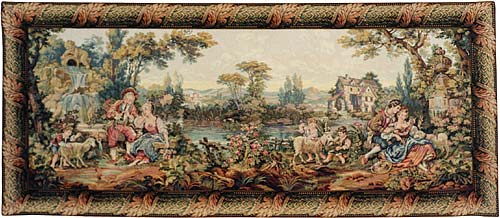 Romance In The Country Pastoral Tapestry Wall Hanging, 65in X 135in