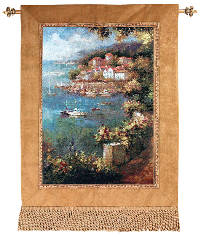 Rose Path Marina View Tapestry Wall Hanging, 35in X 50in