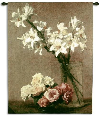 Roses And Lilies Still Life Wall Tapestry - Floral Bouquet In A Vase, 41in X 53in
