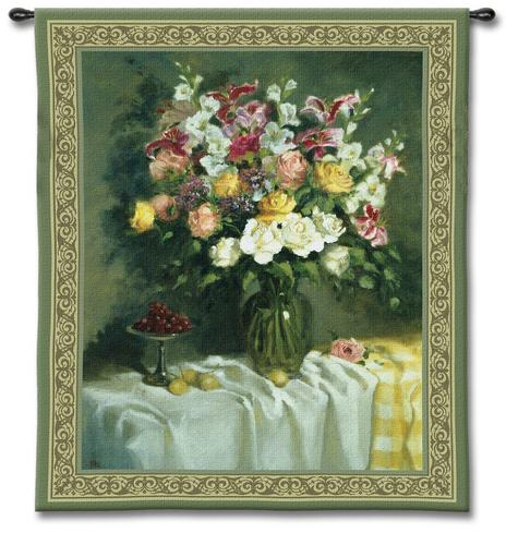 Roses And Sea Grapes Still Life Wall Tapestry - Floral Bouquet In A Vase, 45in X 53in