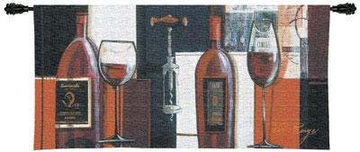 Rouge Wine Still Life Wall Tapestry - Geometrical Collage, 53in X 24in
