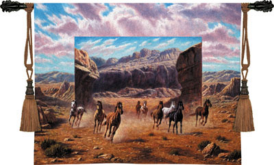Running Horses Animal Tapestry Wall Hanging, 54in X 40in