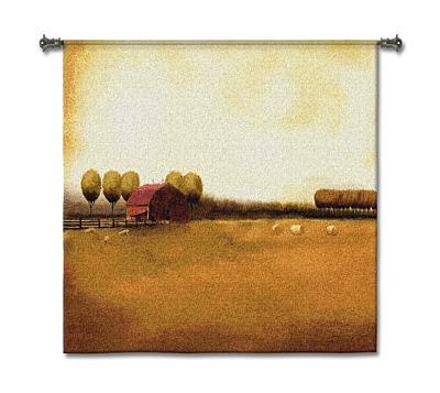 Rural Landscape Countryside Wall Tapestry, 53in X 53in