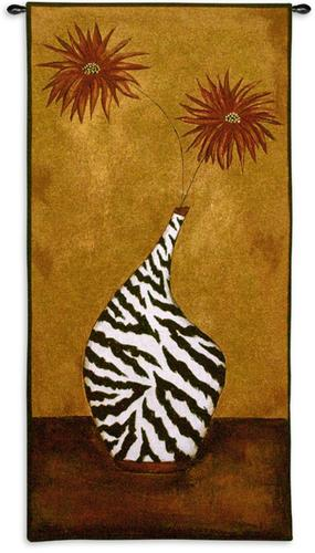 Safari Floral I Contemporary Tapestry Wall Hanging - Flowers In A Vase Picture, 27in X 52in