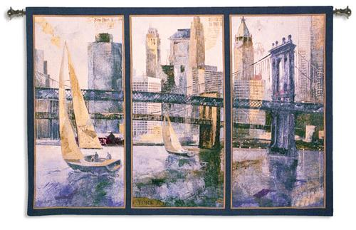 Sailing In The Afternoon II Contemporary Cityscape Tapestry Wall Hanging - Nautical Triptych, 77in X 53in