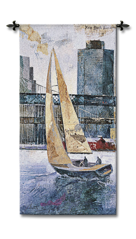 Sailing In The Afternoon Cityscape Tapestry Wall Hanging - Sailboat Picture, 53in X 26in