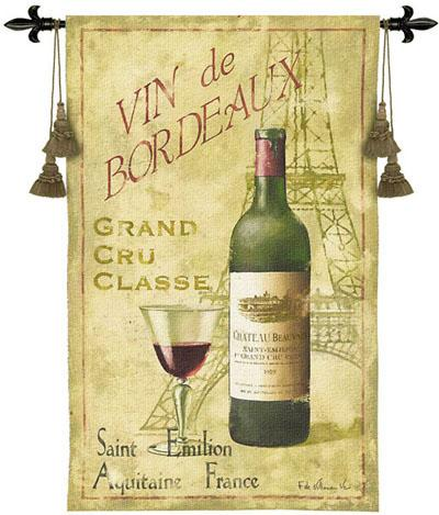 Saint Emilion Wine Still Life Tapestry Wall Hanging, 33in X 53in