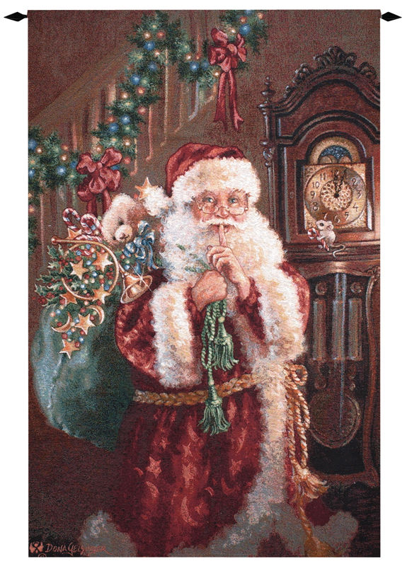 Santa not a creature christmas tapestry wall hanging h