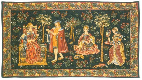 Scene Courtisane Medieval Tapestry Wall Hanging - The Noble Picture, 26in X 40in