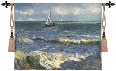 Seascape Near Les Saintes By Van Gogh Wall Tapestry Reproduction, 53in X 41in