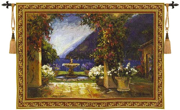 Seaside Fountain Wall Tapestry - Archway View, 53in X 40in