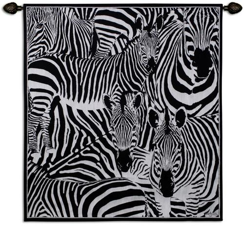 Seeing Stripes Animal Wall Tapestry - Abstract Collage, 47in X 53in