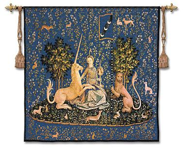 Sense Of Sight Indigo Medieval Tapestry Wall Hanging - Lady And Unicorn Series, 53in X 53in