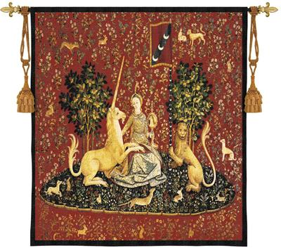 Sense Of Sight Scarlet Medieval Tapestry Wall Hanging - Lady And Unicorn Series, 53in X 53in