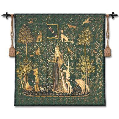 Sense Of Touch Emerald Medieval Tapestry Wall Hanging - Lady And Unicorn Series, 53in X 56in