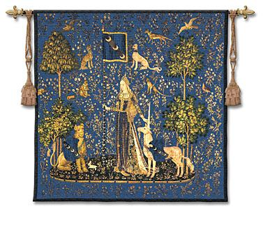 Sense Of Touch Indigo Medieval Tapestry Wall Hanging - Lady And Unicorn Series, 53in X 56in