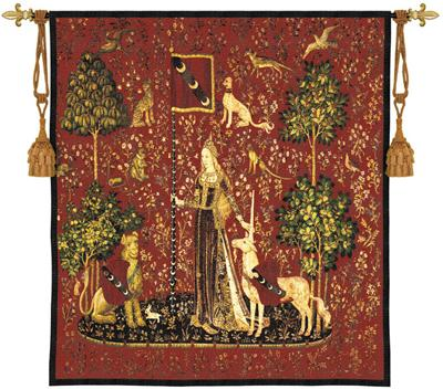 Sense Of Touch Scarlet Medieval Tapestry Wall Hanging - Lady And Unicorn Series, 53in X 56in