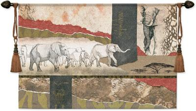 Serengeti Elephants Animal Tapestry Wall Hanging - Abstract African Collage, 52in X 36in