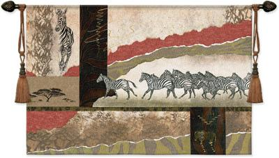 Serengeti Zebras Animal Tapestry Wall Hanging - Abstract African Collage, 52in X 36in