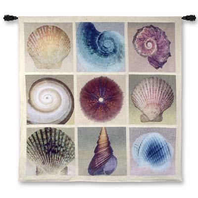 Shell Collection Contemporary Wall Tapestry - Sea Collage, 52in X 52in