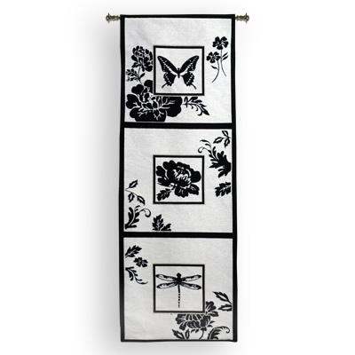 Silhouette Study Contemporary Tapestry Wall Hanging - Botanical Design In Black & White, 18in X 50in