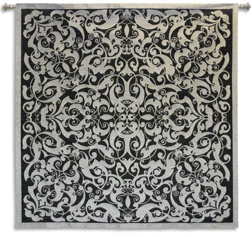 Silver Scroll Ornamental Tapestry Wall Hanging, 53in X 53in