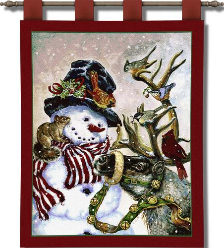 Snowman And Prancer Christmas Tapestry Wall Hanging, 27in X 32in