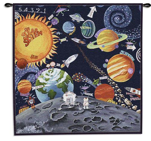 Solar System Children Tapestry Wall Hanging - Kids Decor, 44in X 44in