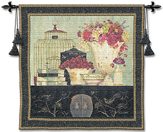 Songbird Bouquet Tapestry Wall Hanging - Floral Picture, 53in X 53in