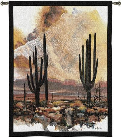 Sonoran Sentinels Landscape Wall Tapestry - Modern Design, 40in X 53in