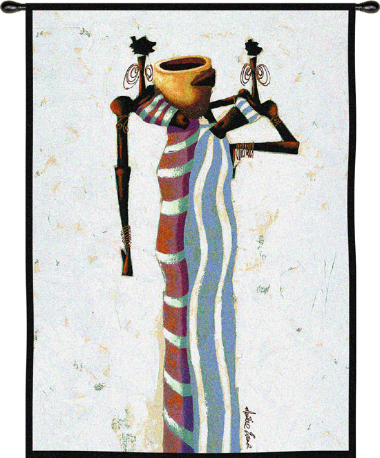Soul Water II African Tapestry Wall Hanging - Ethnic Designs, 41in X 52in