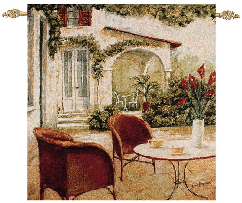 This cafe terrace tapestry wall hanging is called South Terrace.