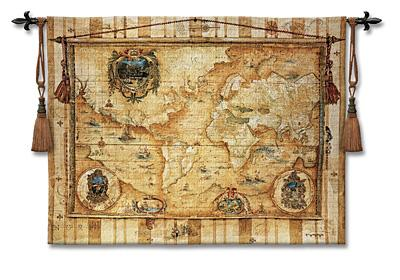 Souvenirs Des Voyage Map Tapestry Wall Hanging, 53in X 40in