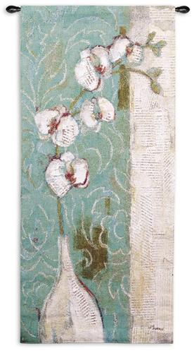 Spa Orchid Contemporary Tapestry Wall Hanging - Modern Floral Design, 27in X 52in