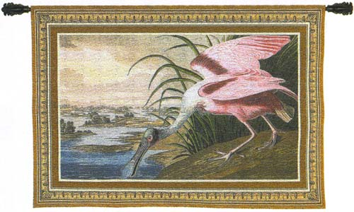 Spoonbill Pelican Bird Picture Tapestry Wall Hanging, 38in X 27in