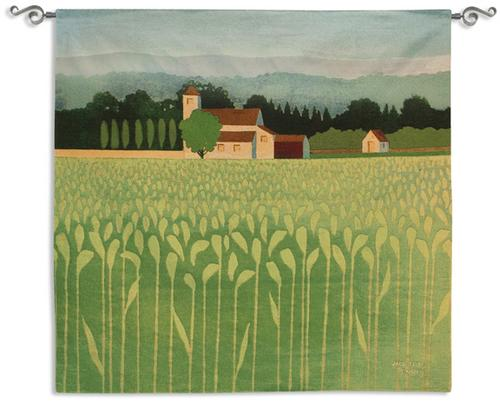 Spring Wheat Field Rural Landscape Tapestry Wall Hanging, 52in X 51in